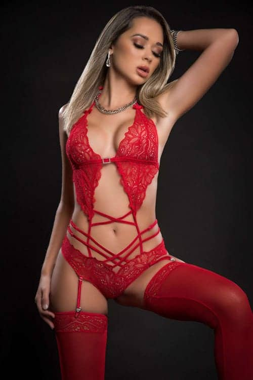 GWorld Scalloped Lacy Teddy with Garter and Stockings front 2