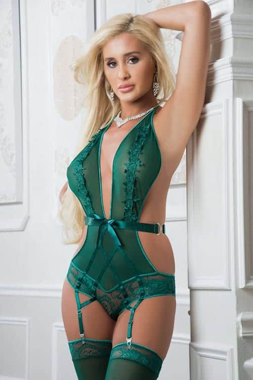 GWorld Embroidered Plunging Halter Teddy front