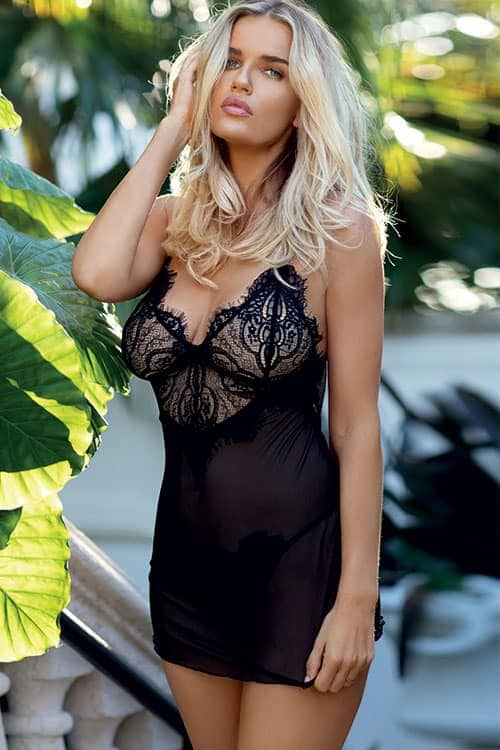 Dkaren Jovita Sheer Black Mesh and Floral Chemise Set front