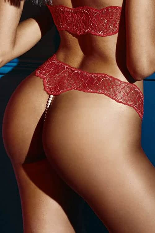 Bracli Sydney Double Pearl Red Thong back 4