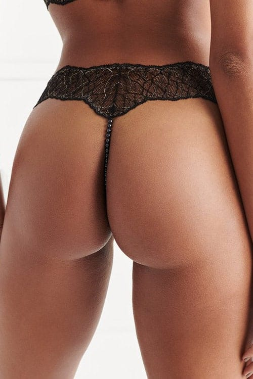 Bracli Sydney Dark Double Pearl Black Thong back